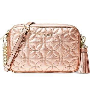 Rose Gold Michael Kors Quilted Camera Bag